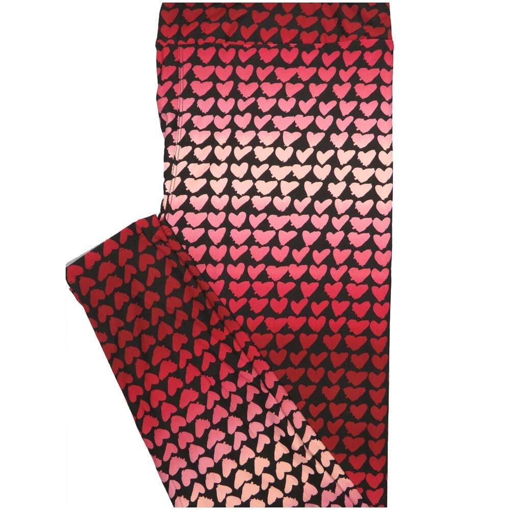 LuLaRoe Tall Curvy TC Valentines Gradient Polka Dot Hearts Red Pink Black Leggings (TC fits Adults 12-18)