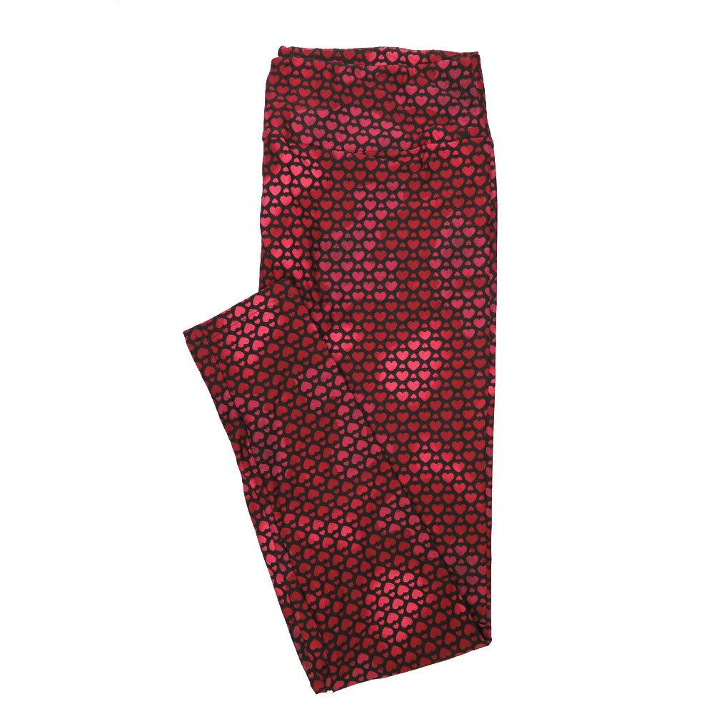 LuLaRoe Tall Curvy TC Pink Black Red Multi Hearts Polka Dot Leggings (TC fits Adults 12-18)