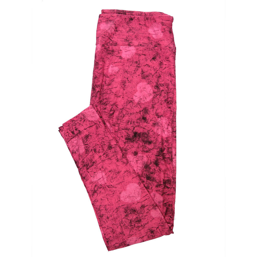 AA LuLaRoe Tall Curvy TC Abstract Hearts Pink Dark Pink Valentines Leggings (TC fits Adults 12-18)