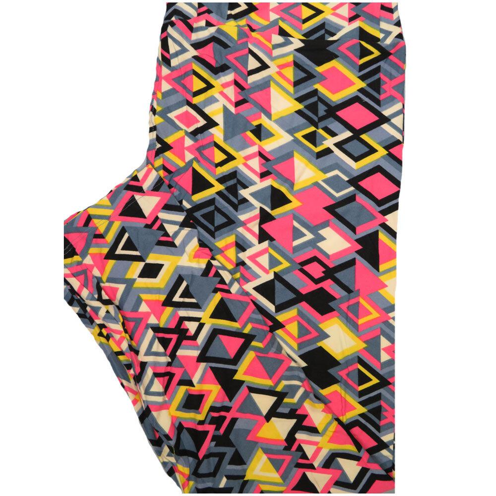 LuLaRoe Tall Curvy TC Black Blue Yellow Geometric Leggings (TC fits Adults 12-18)