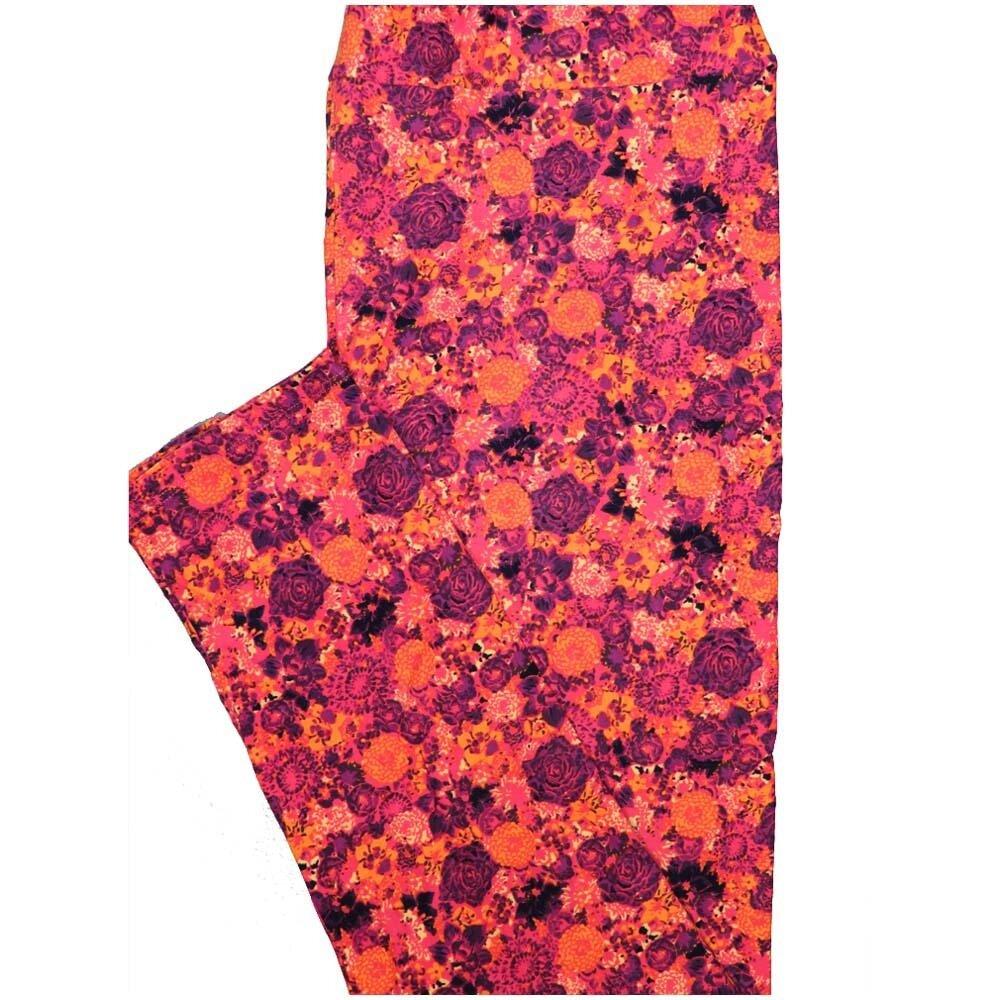 LuLaRoe Tall Curvy TC Orange Pink Purple Floral Leggings (TC fits Adults 12-18)
