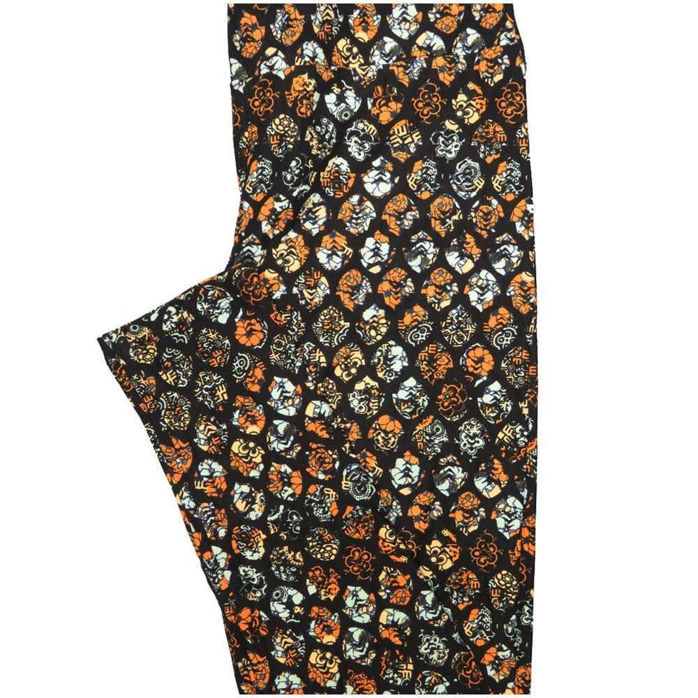 LuLaRoe Tall Curvy TC Black Whtie Orange Polka Dot Floral Leggings (TC fits Adults 12-18)