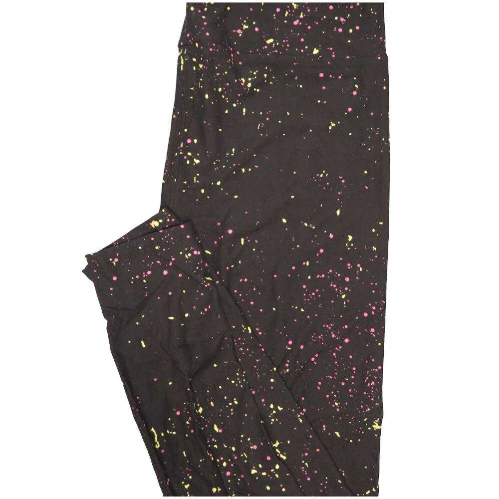 LuLaRoe Tall Curvy TC Spatter Polka Dot Neon Yellow Lavender Black Halloween Leggings (TC fits Adults 12-18)