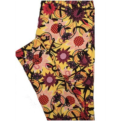 LuLaRoe Tall Curvy TC Yellow Maroon Orange Floral Polka Dot Leggings (TC fits Adults 12-18)