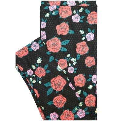 LuLaRoe Tall Curvy TC Roses Polka Dot Hearts Black Pink White Valentines Leggings (TC fits Adults 12-18)