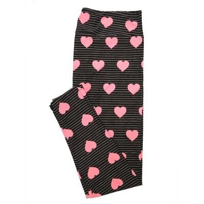 LuLaRoe Tall Curvy TC Valentines Black Pink Hearts Stripe Polka Dot Leggings (TC fits Adults 12-18)
