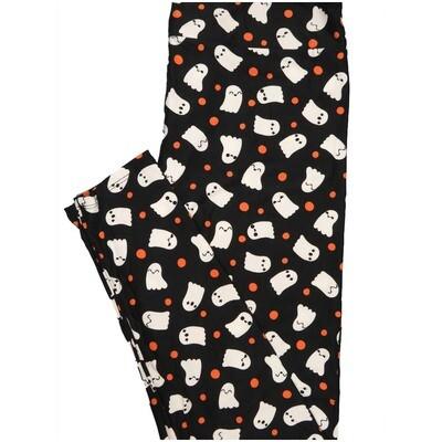 LuLaRoe Tall Curvy TC Halloween Polka Dot Ghosts Black Orange White Leggings (TC fits Adults 12-18)