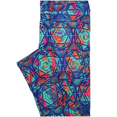 LuLaRoe Tall Curvy TC Darm Blue Turquoise Orange Hexagon 6 Point Star Geometric Leggings (TC fits Adults 12-18)