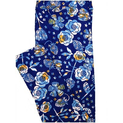 LuLaRoe Tall Curvy TC Strawberries Dark Blue Yellow Light Blue Floral Leggings (TC fits Adults 12-18)