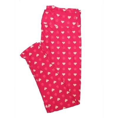 LuLaRoe Tall Curvy TC Paw Print Hearts Polka Dot Pink Light Pink Leggings (TC fits Adults 12-18)