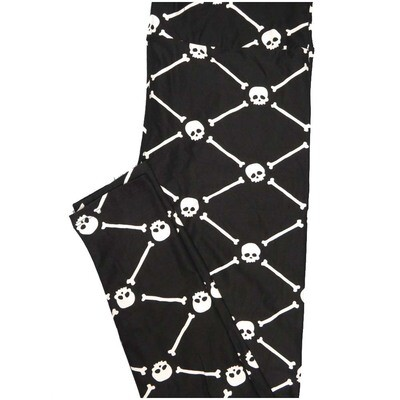LuLaRoe Tall Curvy TC Skull Crossbones Black White Halloween Leggings (TC fits Adults 12-18)