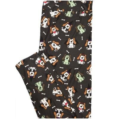 LuLaRoe Tall Curvy TC Puppy Dog Pirate Bat Costume Witch Bones Halloween Leggings (TC fits Adults 12-18)