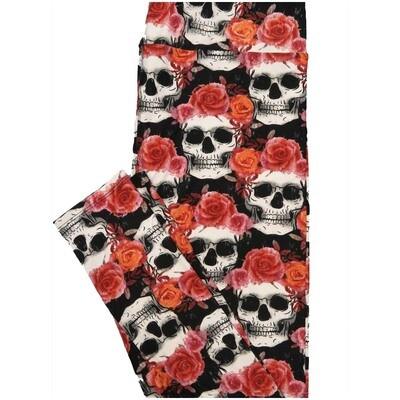 LuLaRoe Tall Curvy TC Skull and Roses Black Red Pink Halloween Leggings (TC fits Adults 12-18)