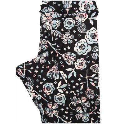 LuLaRoe Tall Curvy TC Strawberries Black White Pink Floral Leggings (TC fits Adults 12-18)