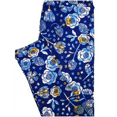 LuLaRoe Tall Curvy TC Strawberries Dark Blue White Light Blue Yellow Floral Leggings (TC fits Adults 12-18)