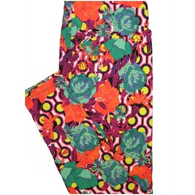 LuLaRoe Tall Curvy TC Floral Pink White Yellow Black Teal Geometric Leggings (TC fits Adults 12-18)