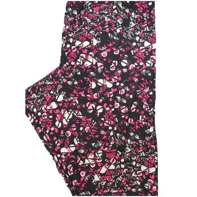 LuLaRoe Tall Curvy TC Fucshia Black White Geometric Floral Leggings (TC fits Adults 12-18)
