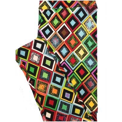 LuLaRoe Tall Curvy TC Red Yellow Black Diamond Checkerboard Geometric Leggings (TC fits Adults 12-18)