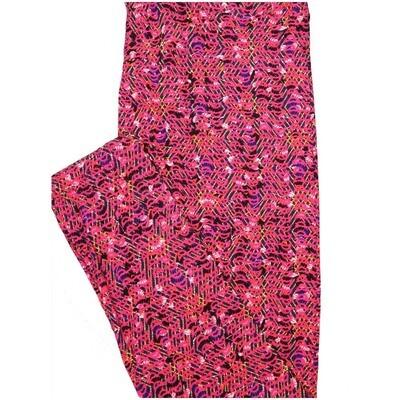 LuLaRoe Tall Curvy TC Hot Pink Black Blue Geometric Stripe Leggings (TC fits Adults 12-18)