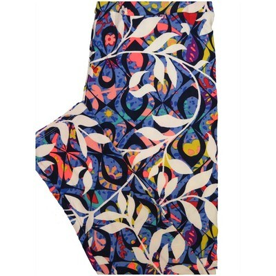 LuLaRoe Tall Curvy TC Black Blue White Geometric Floral Leggings (TC fits Adults 12-18)