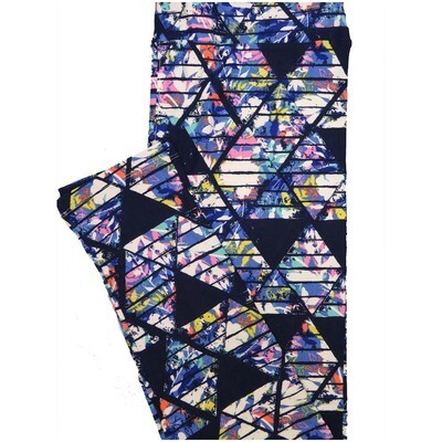 LuLaRoe Tall Curvy TC Black Whtie Blue Geometric Floral Leggings (TC fits Adults 12-18)