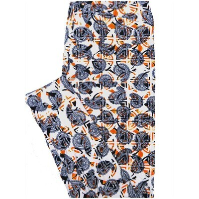 LuLaRoe Tall Curvy TC Paisley Orange White Blue Geometric Leggings (TC fits Adults 12-18)