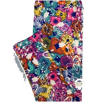 LuLaRoe Tall Curvy TC Paisley Dark Blue White Orange Floral Leggings (TC fits Adults 12-18)