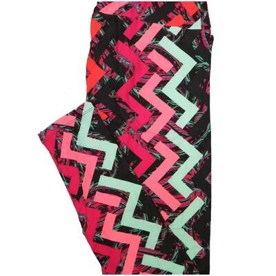LuLaRoe Tall Curvy TC Black Mint Green Pink Zig Zag Stripe Paisley Leggings (TC fits Adults 12-18)