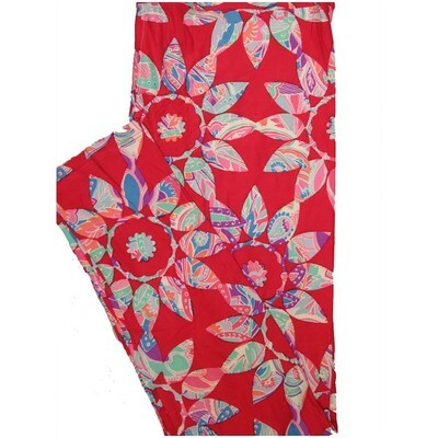 LuLaRoe Tall Curvy TC Paisley Red Orange Turquoise Blue Floral Leggings (TC fits Adults 12-18)
