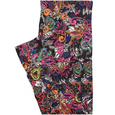 LuLaRoe Tall Curvy TC Paisley Black Pink Blue Floral Leggings (TC fits Adults 12-18)