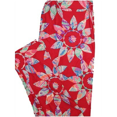 LuLaRoe Tall Curvy TC Paisley Red Orange Pink Purple Floral Leggings (TC fits Adults 12-18)