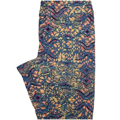 LuLaRoe Tall Curvy TC 70s Black Blue Yellow Trippy Psychedelic Floral Leggings (TC fits Adults 12-18)