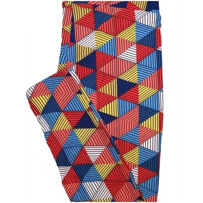 LuLaRoe Tall Curvy TC Black Blue White Yellow Hexagon Stripe 70s Trippy Psychedelic Leggings (TC fits Adults 12-18)