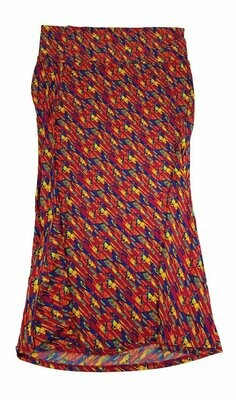 LuLaRoe Maxi XXX-Large 3XL Red Blue Yellow Abstract Geometric A-Line Skirt fits Women 24-26