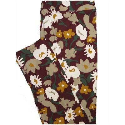 LuLaRoe Tall Curvy TC Maroon Dark Green Yellow Floral Leggings (TC fits Adults 12-18)