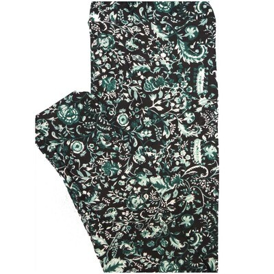 LuLaRoe Tall Curvy TC Black Mint and Dark Geen Floral Leggings (TC fits Adults 12-18)