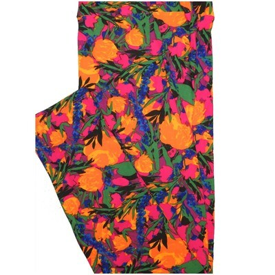 LuLaRoe Tall Curvy TC Purple Pink Yellow Floral Leggings (TC fits Adults 12-18)