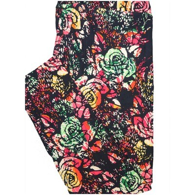 LuLaRoe Tall Curvy TC Roses Black Dark Mint Green Floral Leggings (TC fits Adults 12-18)