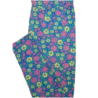 LuLaRoe Tall Curvy TC Dark Blue Pink Yellow Floral Leggings (TC fits Adults 12-18)