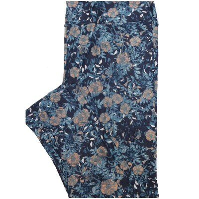LuLaRoe Tall Curvy TC Black Blue Orange Floral Leggings (TC fits Adults 12-18)