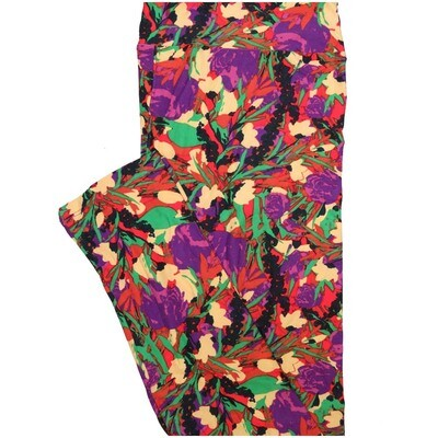 LuLaRoe Tall Curvy TC Abstract Red Purple Pink Floral Leggings (TC fits Adults 12-18)