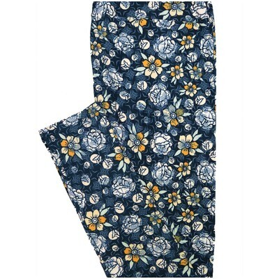 LuLaRoe Tall Curvy TC Navy Blue Yellow Cream Floral Leggings (TC fits Adults 12-18)
