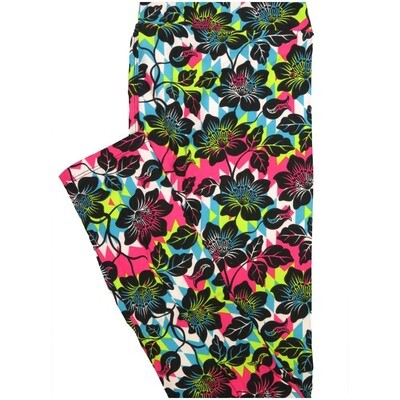 LuLaRoe Tall Curvy TC Black Pink White Blue Floral Leggings (TC fits Adults 12-18)