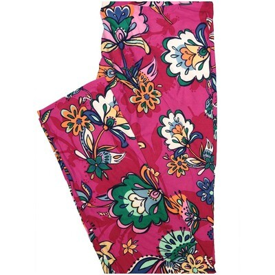 LuLaRoe Tall Curvy TC Pink Red White Floral Leggings (TC fits Adults 12-18)