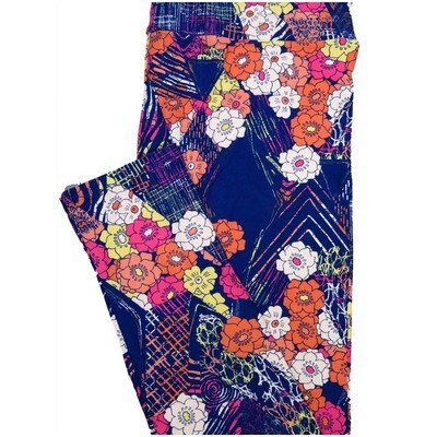 LuLaRoe Tall Curvy TC Floral Navy Blue Orange Orange White Leggings (TC fits Adults 12-18)