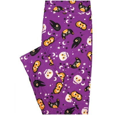 LuLaRoe Tall Curvy TC Dios Muertos Skulls Black Cats Raven Moon Stars Owls Halloween Leggings (TC fits Adults 12-18)