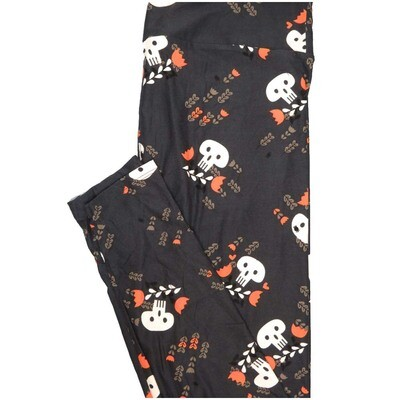 LuLaRoe Tall Curvy TC Skulls Roses Black White Red Green Halloween Leggings (TC fits Adults 12-18)