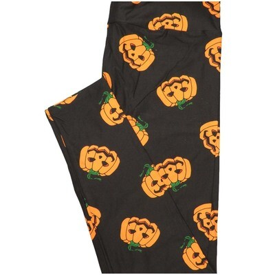 LuLaRoe Tall Curvy TC Jack Orange Lantern Pumpkins Black Orange Halloween Leggings (TC fits Adults 12-18)
