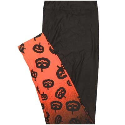 LuLaRoe Tall Curvy TC Solid Black with Orange Bottoms and Pumpkins Halloween Leggings (TC fits Adults 12-18)
