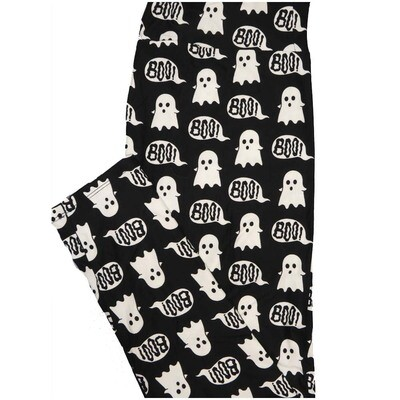 LuLaRoe Tall Curvy TC Ghosts Boo! Black White Halloween Leggings (TC fits Adults 12-18)